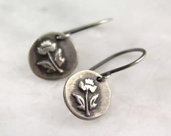 Little Rose Rustic Oxidized Silver Earrings