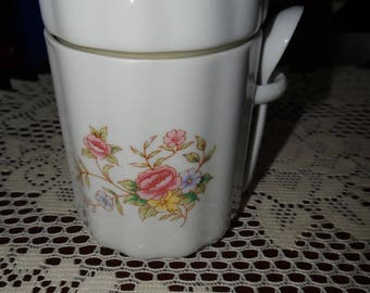 Vintage F.T.D.A. Sugar Canister with Spoon--1988