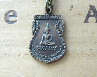 Vintage Buddha Buddhist Medal Necklace
