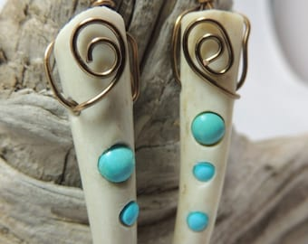 Antler and Turquoise Earrings E