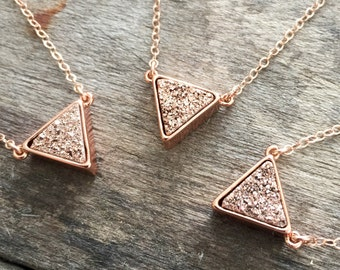 Druzy Necklace, Rose Gold Druzy Necklace, Druzy Triangle Necklace, Titanium Druzy Quartz Necklace, Druzy Jewelry