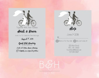 Cycling Wedding Invitation, Biking Wedding Invitation, Printable Custom Wedding Invitation, Grey Gray Wedding Invite, Bike, Digital Download