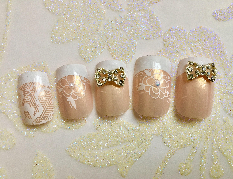 White Floral French Wedding Nails | Bridal Nails | Lace Fake Nails ...