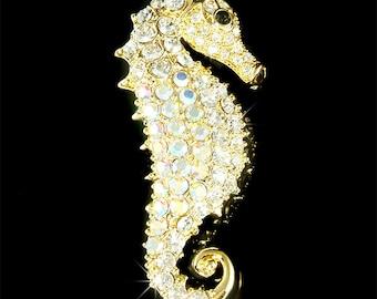 Swarovski Crystal Sea Horse SEAHORSE Hippocampus marine fish Pin Brooch BEACH WEDDING Favor Bridesmaid Bridal Ocean Vacation Christmas Gift