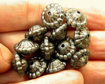 Vintage Lucite Abacus Spacer Beads OXIDIZED SILVER Ruffled 12mm pkg12 res347