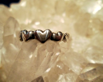 Tiny Hearts Ring ~Hand Cast~ Sterling Silver