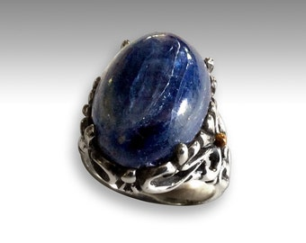 Two-tone ring, kynite ring, gemstone ring, floral ring, cocktail ring, blue ring, Sterling silver Ring, silver gold ring - Overlooking R2202