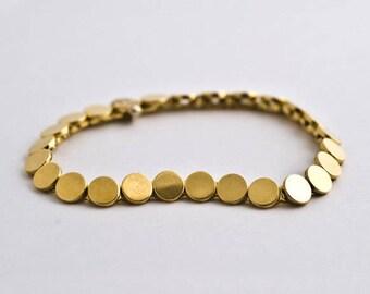Small Disc Gold Bracelet, Gold Links Bracelet, Disk Bracelet, 14k 18k Gold Bracelet for Woman, Handmade Berman Jewellers