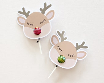 12 Reindeer Lollipop holders. Chuppa Chup cards. Christmas gift.