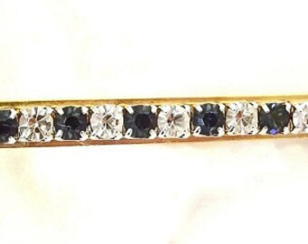 Vintage Brooch Blue Sapphire and Diamond Rhinestones Swarovski Crystal Dressy Casual Wedding