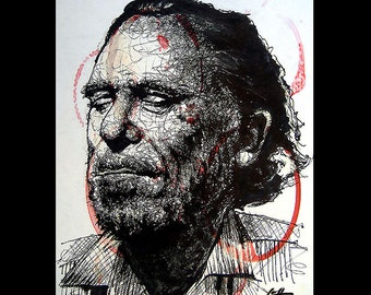"Print 11x14"" - Charles Bukowski - Poetry Alcohol Wine Beer Sex Hollywood Los Angeles Drunk Bar Books Writing Reading Hipster Lowbrow Pop Art"