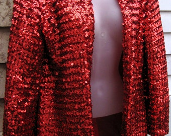 80s prom dress Jacket, Small Red sequined Re 80s SEQUIN JACKET 1980s prom dress jacket, 80s prom gown jacket, 1980s prom gown blazer