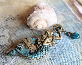 "Mermaid fantasy pirate steampunk bronze and blue ""Sea treasures"" brooch"