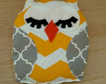 Aromatherapy Rice Pack, Gray and Yellow Chevron Owl Hand Warmer Heat Pack, Owl Warmer Rice Bag