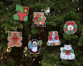 Cross Stitched Christmas Ornaments - set of 7