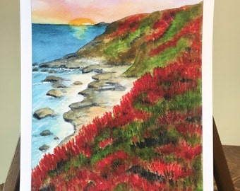 Bodega Bay California coast ocean scene  water color print