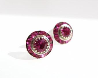 Vintage Crystal Fuchsia Pink Post Earrings
