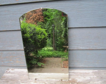 Reserved for Tawana...Vintage Mid Century Modern Arched Frameless Beveled Wall Hanging Mirror