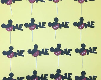 First Birthday Mickey Themed One Cupcake Topper