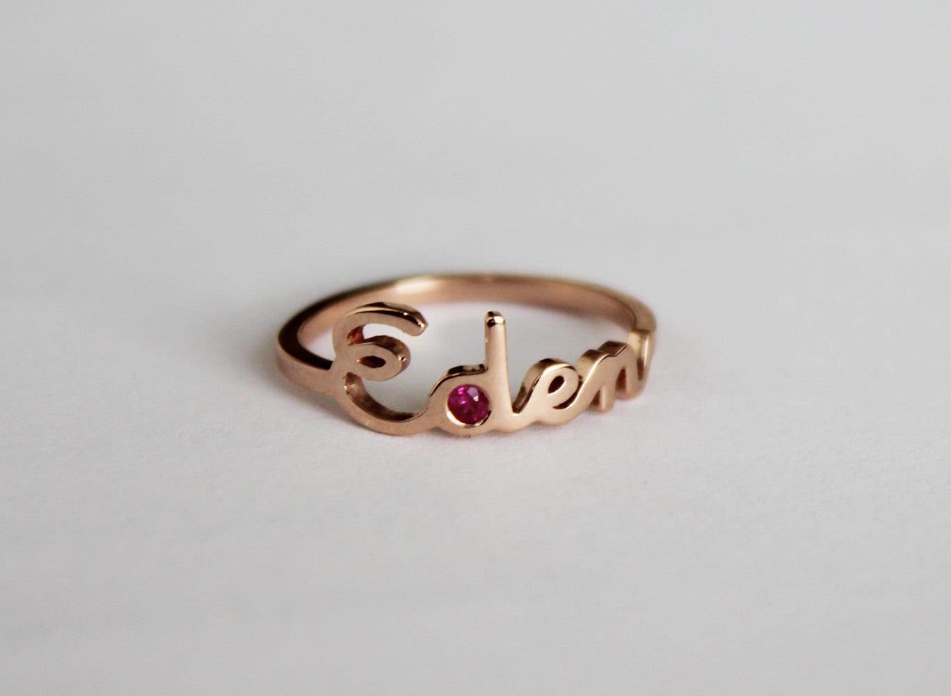 Name Ring Birthstone Ring Ruby Ring Rose Gold Band Rose