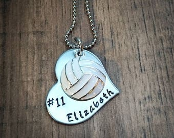 Hand Stamped Personalized Volleyball Necklace - Girls Volleyball Necklace - Volleyball Team Gift - Senior Gift