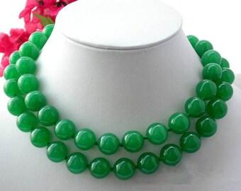 jade necklace -32/48 inch 12 mm green jade long necklace