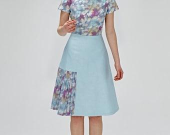 Blue dress 1940s dress Liberty print dress A line dress Knee length dress Dress with pockets Bridesmaid dress Plus size dress Retro dress