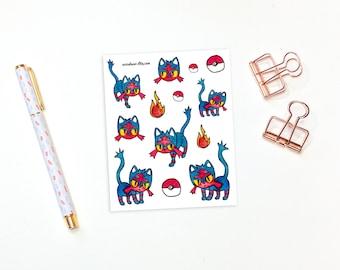 Litten stickers - 13 alola stickers, pokemon stickers, planner stickers, bullet journal stickers, decorative stickers, bujo stickers