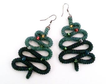 Crochet Tube Christmas Tree Earrings, Christmas Jewelry Holiday Party Christmas Gift Novelty Earrings Stocking Stuffer