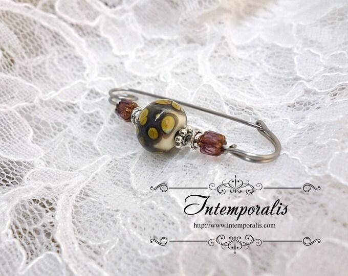 Ivory and purple lampwork glass bead brooch, shawl pin, OOAK, SAFI03