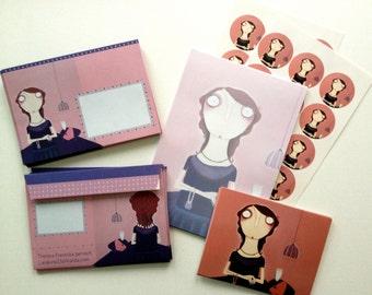 """Stationery """"Misses von Cieminski"""" Set Cards Postcards Stationery Envelopes Envelope Seals"""