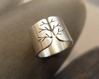 Tree of life, mothers ring, gift for wife, minimalist ring, statement ring, silver ring, open ring, yoga, branch ring, wide band ring