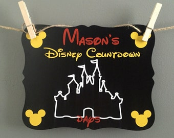 Disney Trip Countdown, Reusable Chalkboard Personalized Disney World Countdown, Disney Vacations