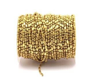 Brass Ball Chain, 2M (2.4mm) Raw Brass Ball Chain  BS 1376