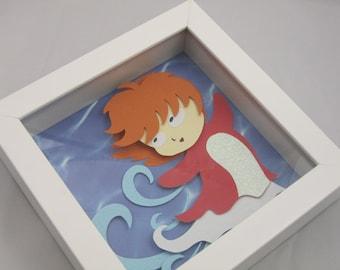 Ponyo Papercraft Shadowbox Art
