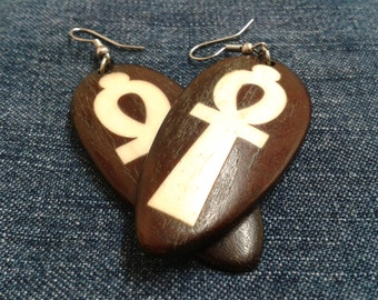 Vintage Wooden Inlaid Ankh Earrings