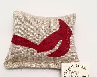 Small Red Cardinal Balsam Fir Sachet - Maine Balsam Fir Pillow - Small Cardinal Sachet in Linen with Maine Balsam Fir - Balsam Fir Sachet
