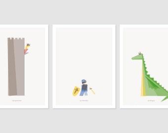 Print - Offre spéciale 3 Posters - Il était des fois - Une Princesse, un Chevalier et un Dragon - 30x40