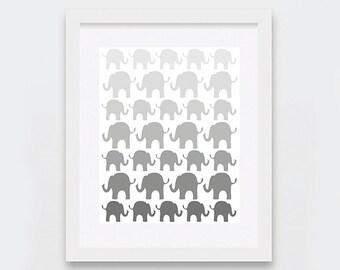 Elephants Ombre Nursery Art Print - Unisex Grey Baby Digital Art - Unisex Baby Shower - Printable Nursery Art - Scandinavian Modern Neutral