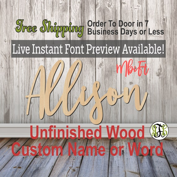 MbiFt Font Custom Name or Word Sign, Cursive, Connected, wood cut out, wood cutout, wooden, Nursery, Wedding, Birthday, name sign, Script