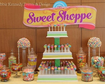Candy Shop Backdrop - Party Printable Sign - DIY Print - Custom backdrop for candy buffet, dessert buffet, dessert table, Candyland party