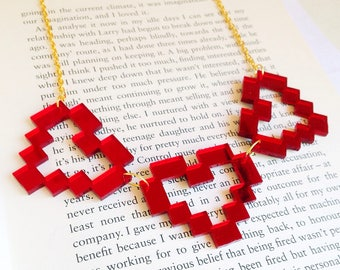Pixel Heart Necklace, 1 up Game, Videogame Jewelry