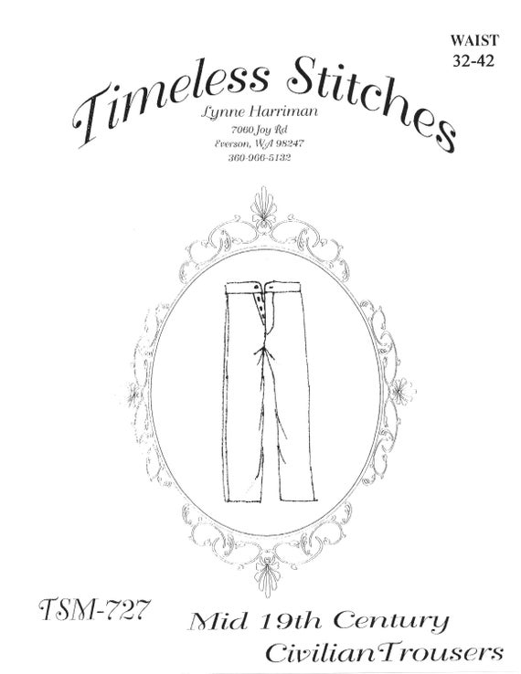 Men's Vintage Reproduction Sewing Patterns Civilian Trousers/ 19th Century Button Fly Trouser Pattern/  Timeless Stitches Sewing Pattern TSM-727 Civilian Trousers $12.00 AT vintagedancer.com