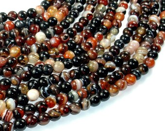 Banded Agate Beads, Sardonyx Agate Beads, 6mm(6.3mm) Round Beads, 14.5 Inch, Full strand, Approx 62 beads, Hole 1mm (132054061)