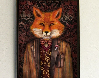Art Print - Poster - Fox - Anthropomorphic portrait - Portrait of The Mysterious Lord Fox