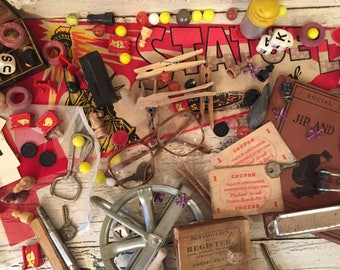Vintage Junk Drawer Lot - Collage, Assemblage, Trinkets and Smalls