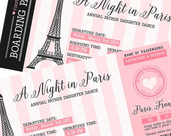 Pink & Black Paris France Father Daughter Dance Invitation - Boarding Pass Ticket Style Invitation, Paris Party