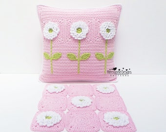CROCHET PILLOW PATTERN - Delightful Dahlias - Crochet Cushion Pattern Granny Square Pattern, Flower crochet pattern Crocheted Pillow pattern