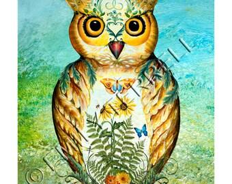 Folk Art Garden Owl Flowers Print