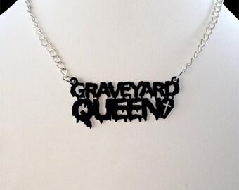 Graveyard Queen Necklace Coffin necklace Halloween necklace Statement necklace Big Black necklace Laser cut necklace Custom Acrylic necklace